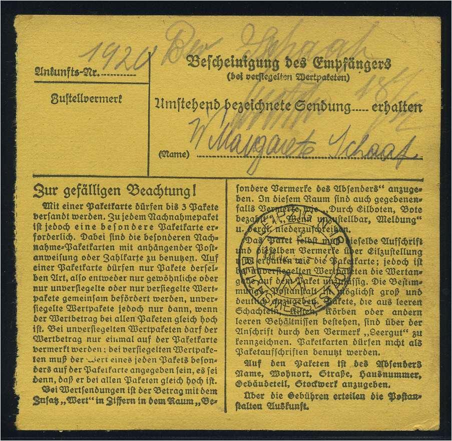 114715 Briefe & Kartenposten Paketkarte 1943 Leipzig Siehe Beschreibung