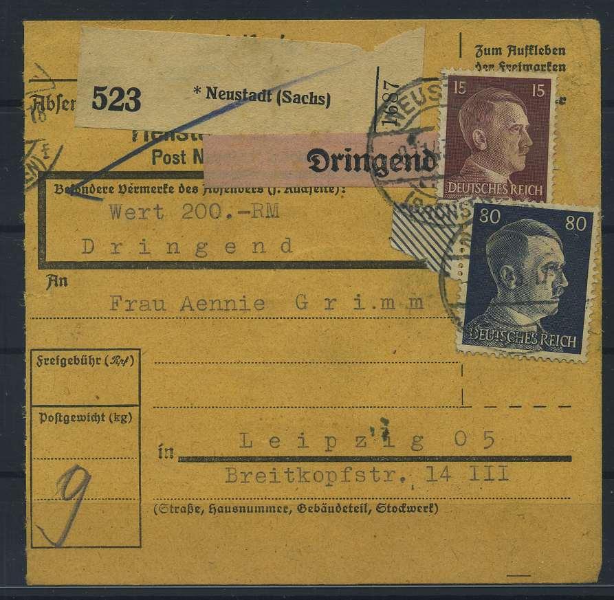 Logisch Paketkarte 1943 Neustadt Siehe Beschreibung Briefmarken 115239 Diverse Philatelie